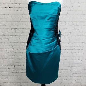 David's Bridal - Oasis Satin & Black Lace Dress